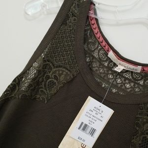 NWT Olive Green Ribbed Swing Tank with Lace